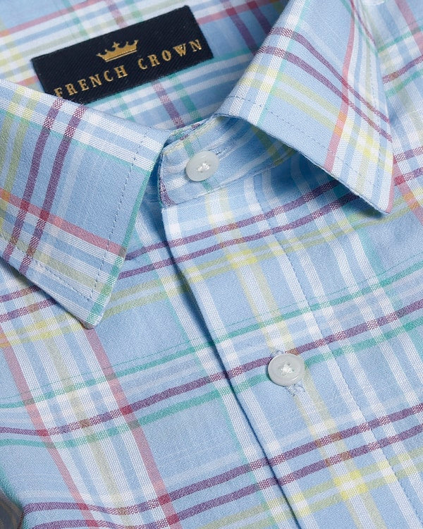 Sky Blue Checked Giza Cotton shirt