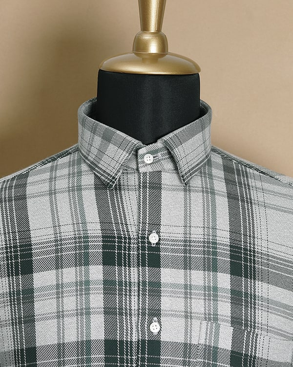 Grey Checked Heavy weight Cotton SHIRT