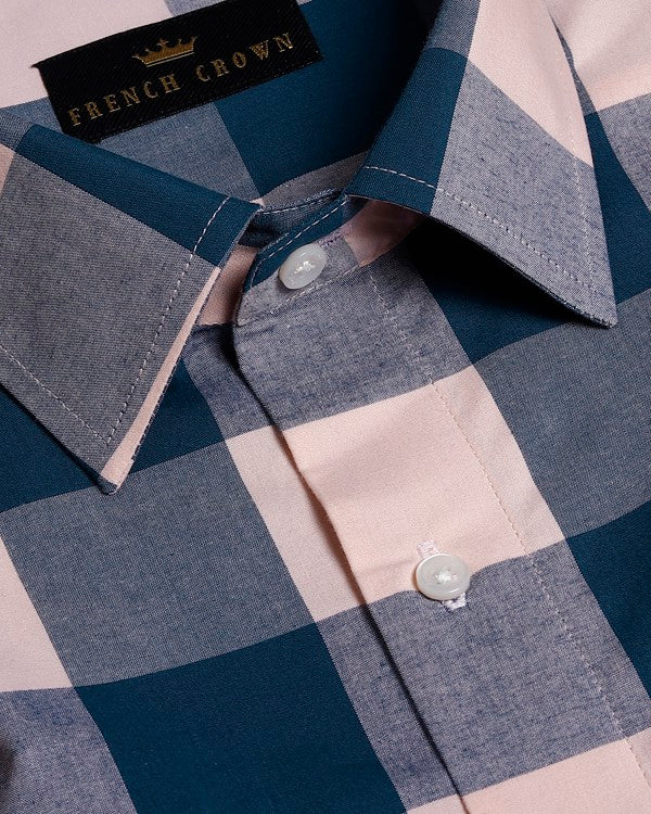 Blue and Pink Checked Premium Cotton Shirt
