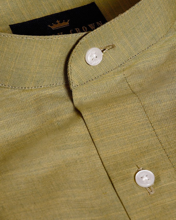 Olive with Mustard Textured Premium Cotton shirt