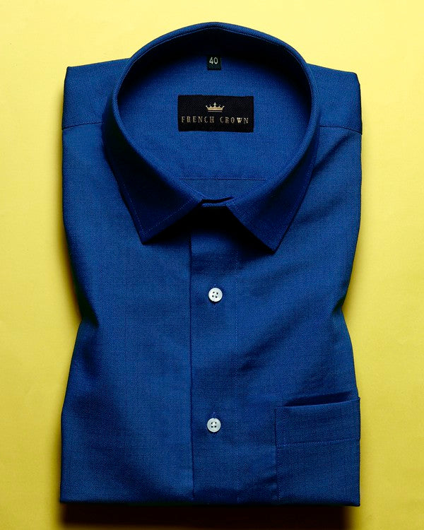 Royal Blue Textured Premium Cotton shirt