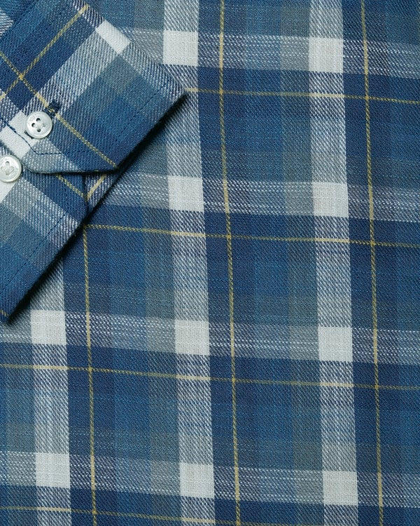 Steel Blue Checked Premium Cotton SHIRT