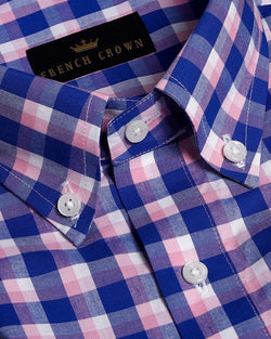 Blue with Pink Checked Premium Cotton Shirt