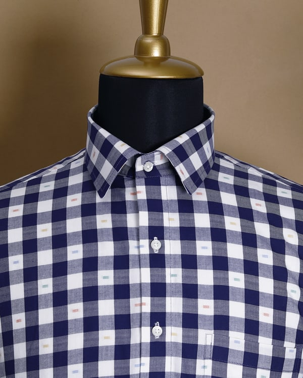 Blue with White Checked Twill SHIRT