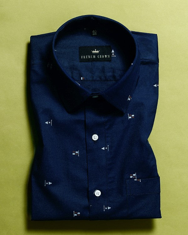 Navy ⛳Flag Printed Royal Oxford Shirt