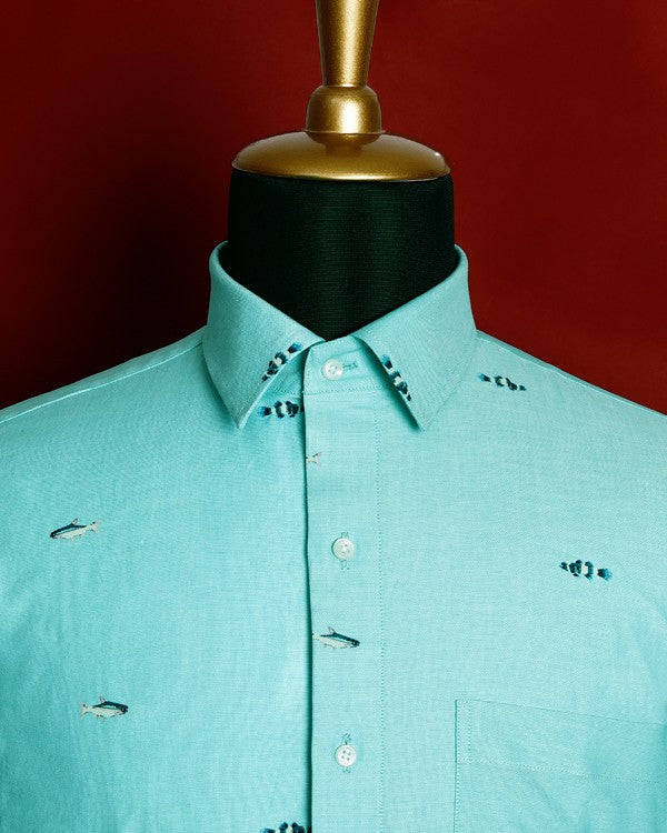Aqua Green 🐠🐟Fish Printed Oxford Shirt