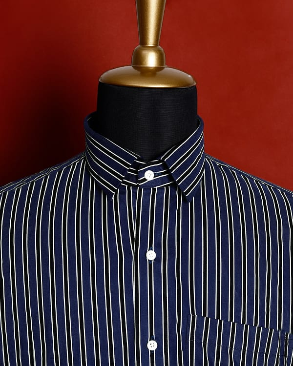 Blue with Black Retro Striped Ultra Soft Cotton SHIRT