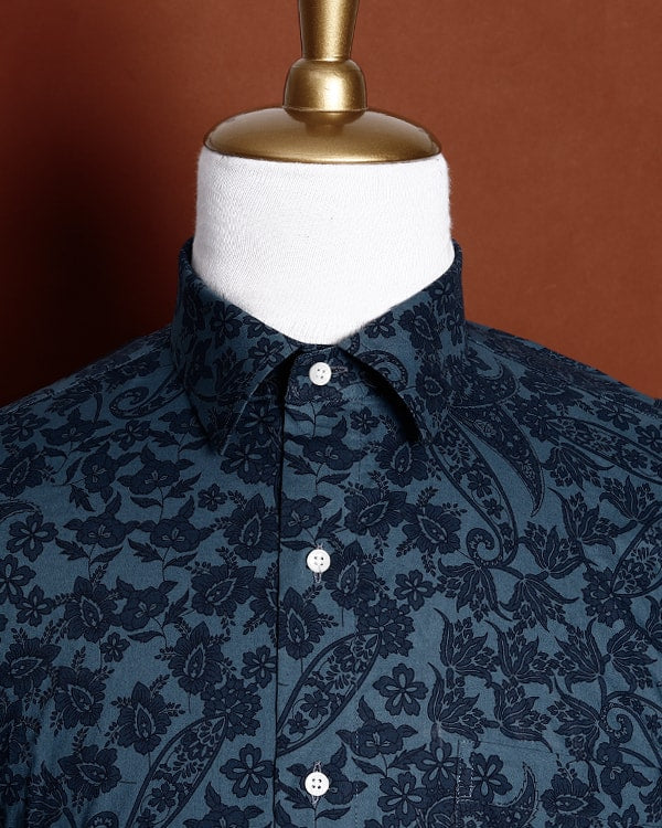 Greyish Blue Paisley Printed Premium Cotton Shirt