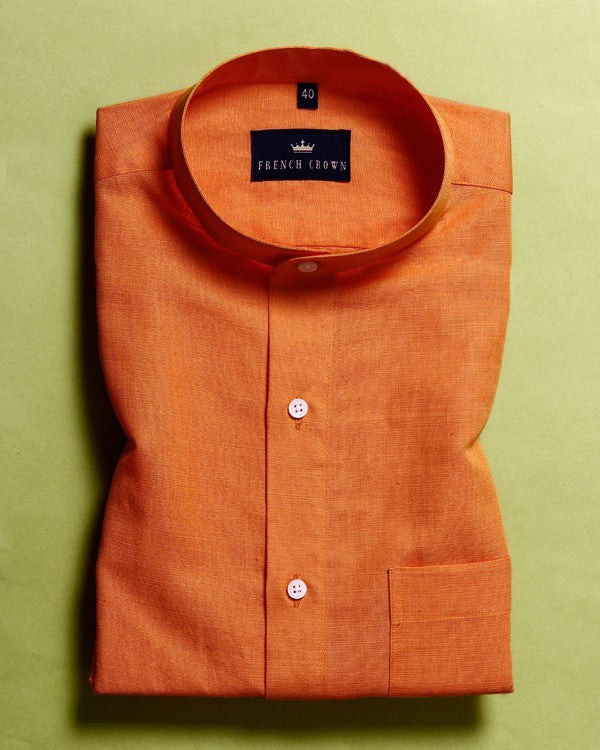 Mango Orange 🥭Luxurious Linen-cotton SHIRT