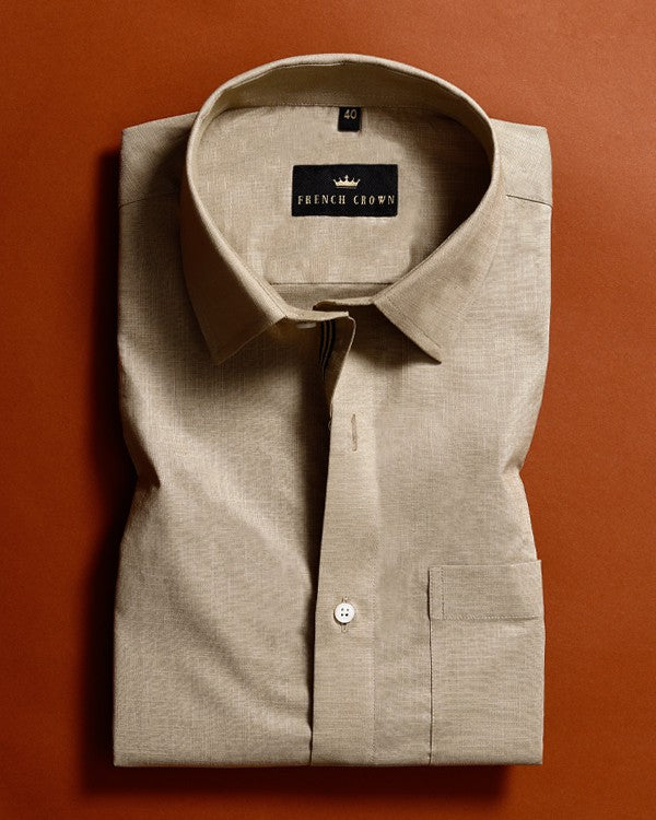 Peanut Brown Textured PremiumCotton shirt
