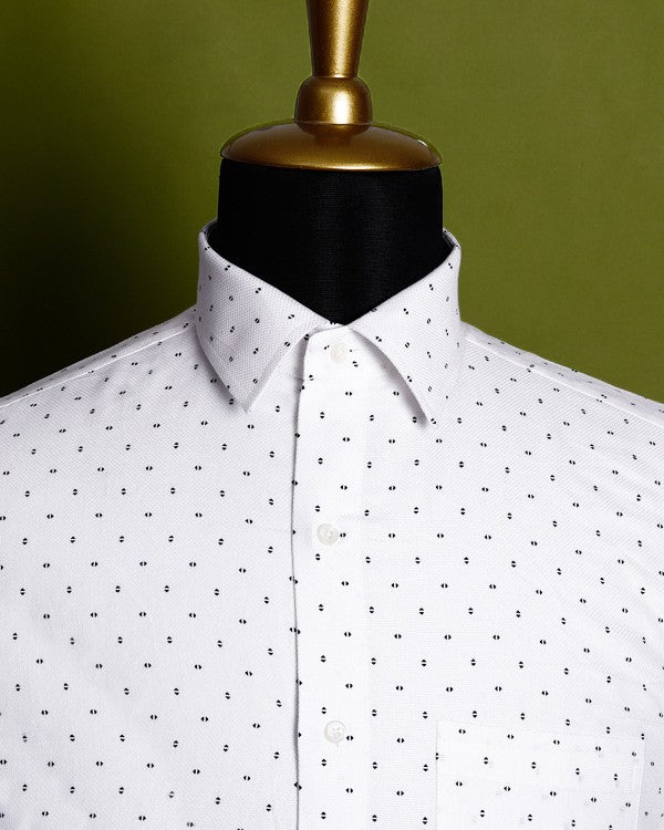 White ⬡ Hexagon Textured Printed Dobby Shirt