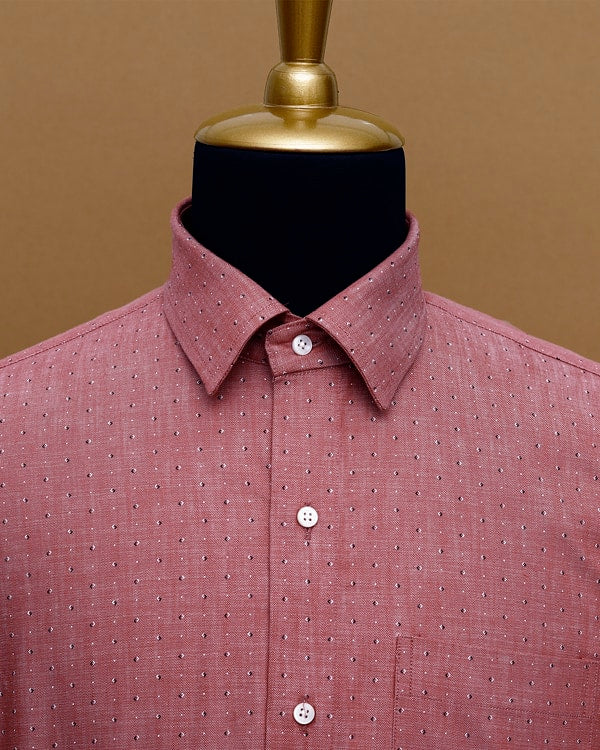 Brick Red Printed Royal Oxford Shirt