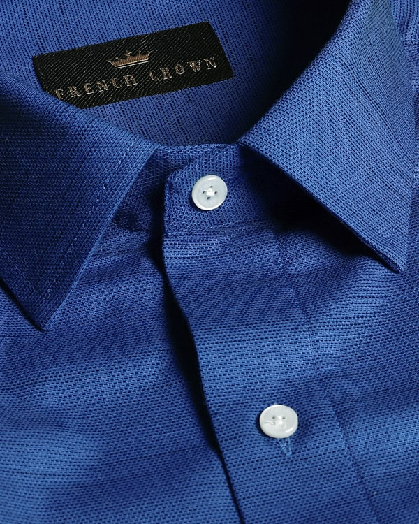 Royal Blue with black slub Premium Cotton shirt
