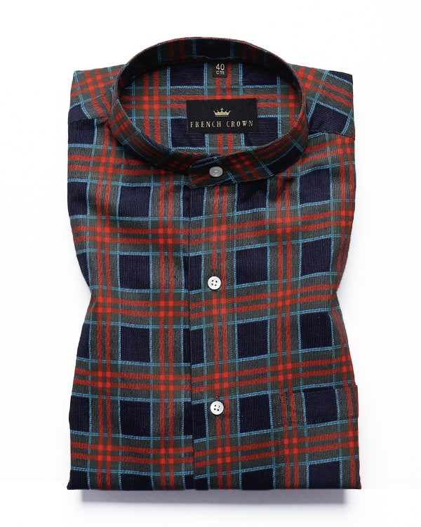 Multi Checked Heavy weight Buttery Corduroy Cotton Shirt