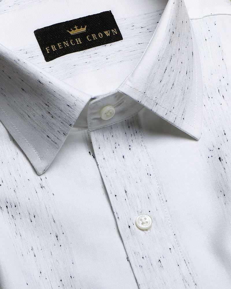 Bright white Striped Premium Cotton Shirt