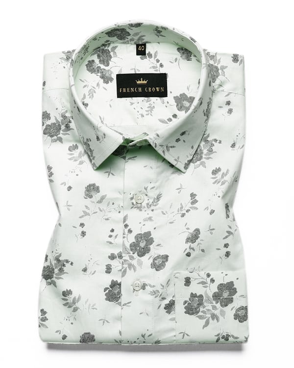 Sage Green Flower Printed Premium Cotton SHIRT