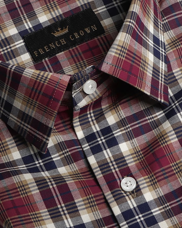 Maroon, Blue and Brown Checked Giza Cotton shirt