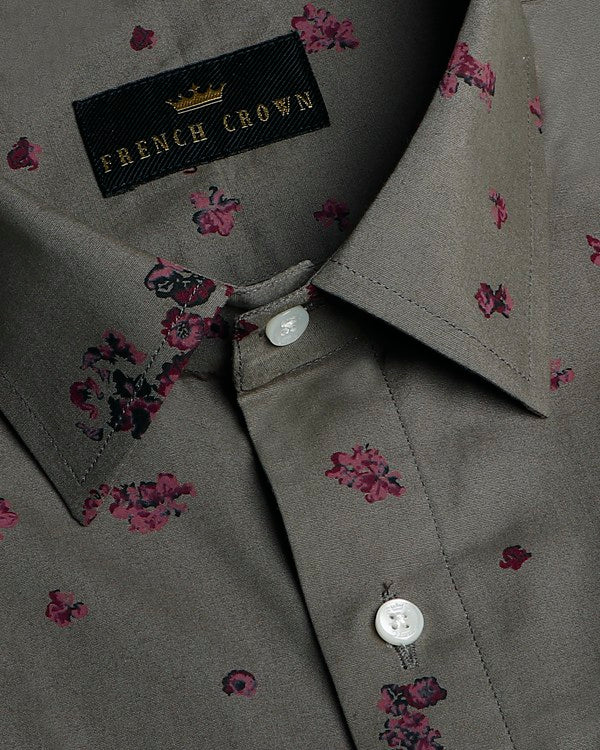 Greenish grey with Maroon Flower Printed Ultra Soft Cotton SHIRT