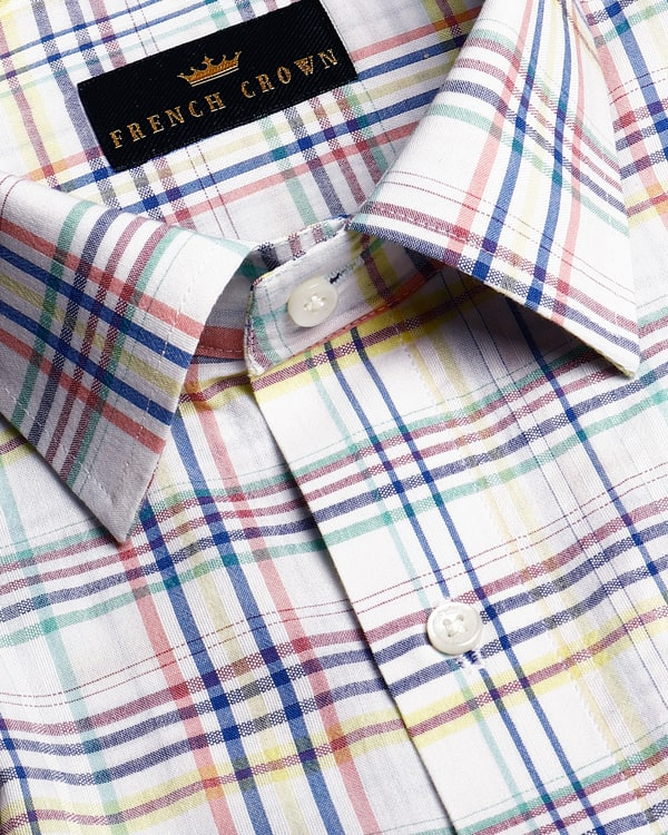 White with Multi-Checked Giza Cotton shirt