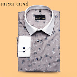 Grey Flower Printed Premium Cotton Shirt