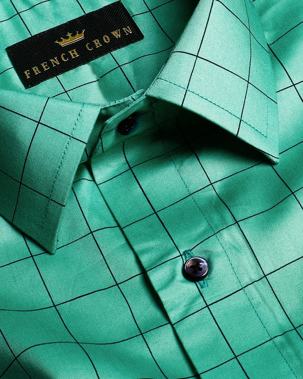Mint Green Windowpane Checked Premium Cotton Shirt