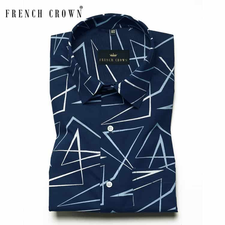 Navy Triangles ⏩◢◤△🔻◭ Printed Ultra soft Giza Cotton SHIRT