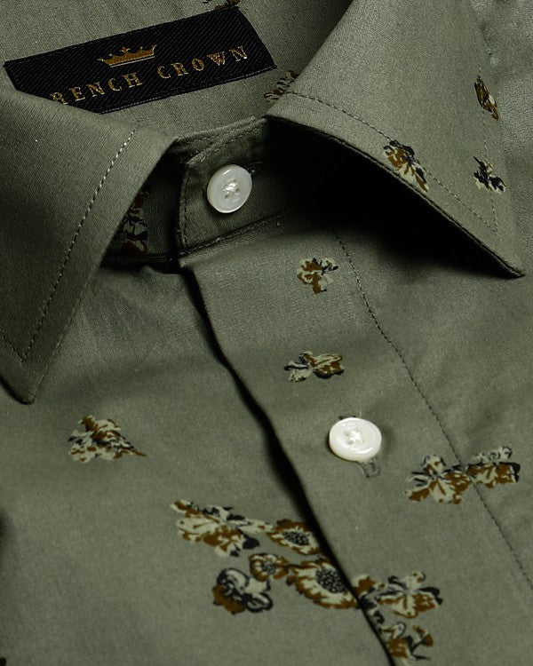 Olive Green with Brown Flower Printed Ultra Soft Cotton SHIRT