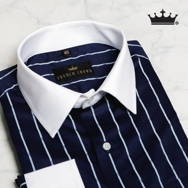 BLUE STRIPES PRINTED Premium Cotton Shirt