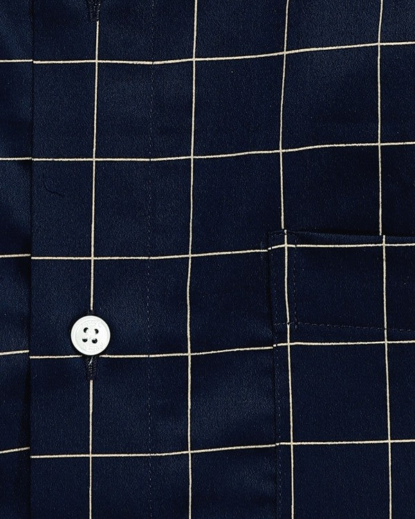 Blue Windowpane Checked Premium Cotton Shirt