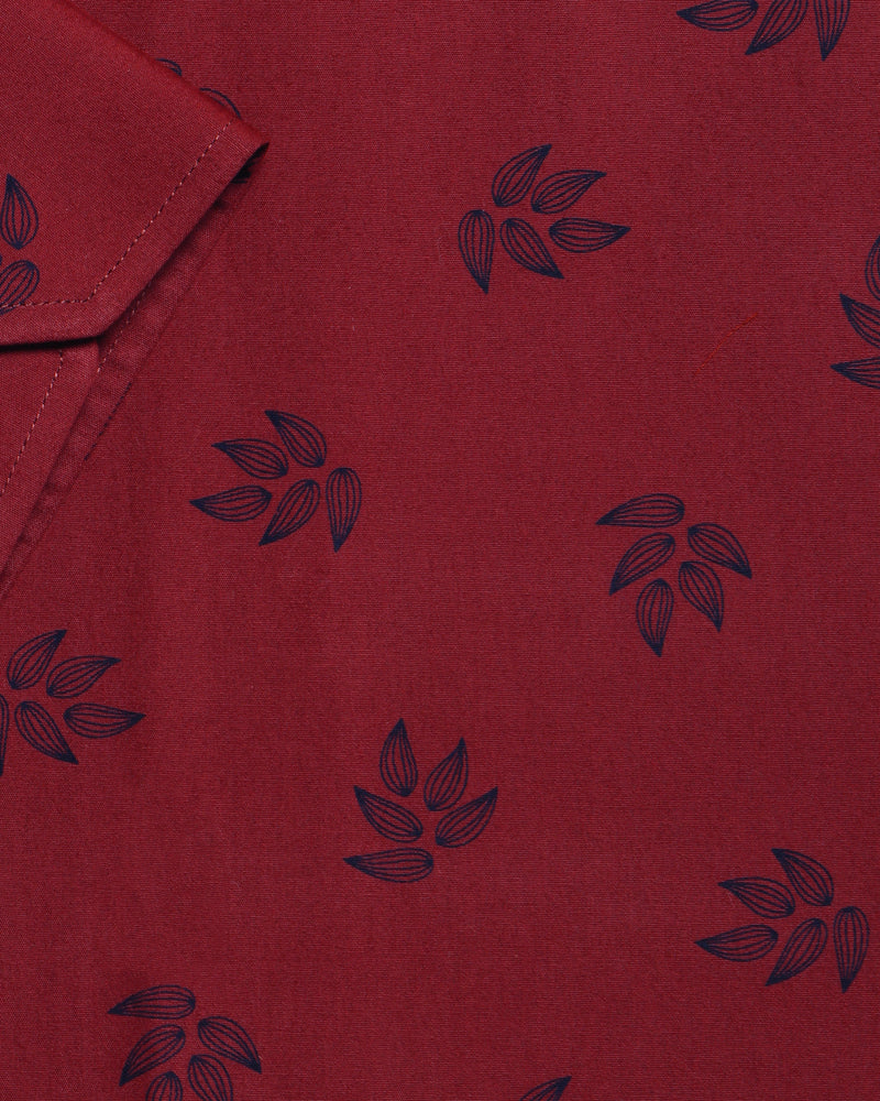 Rust Red Flower bud Printed Ultra Soft Cotton SHIRT