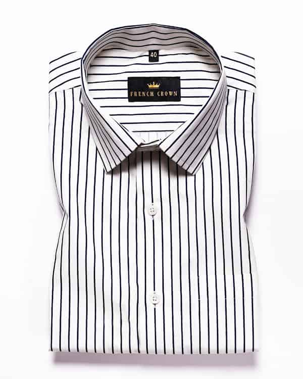Bright white Striped Ultra Soft Cotton Shirt
