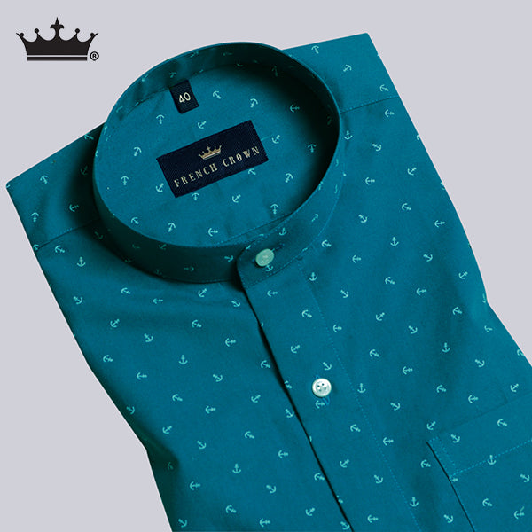 Peacock Blue ⚓ Anchor Printed Ultra Soft Cotton SHIRT