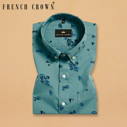 Peacock Blue Flower Printed Ultra Soft Cotton SHIRT