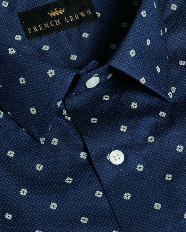 Navy Printed Premium Cotton shirt
