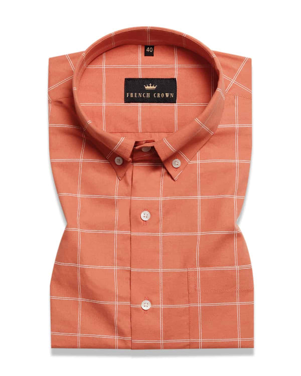 Orange Windowpane Checked Ultra Soft Cotton SHIRT