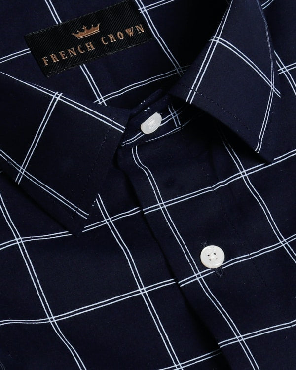 Navy Blue Windowpane Checked Ultra Soft Cotton SHIRT