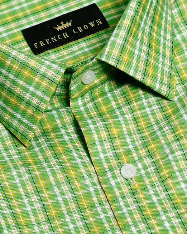 Lime Green Checked Premium Cotton SHIRT
