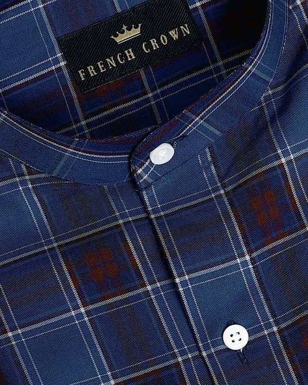 Blue with Maroon Plaid Premium Cotton SHIRT