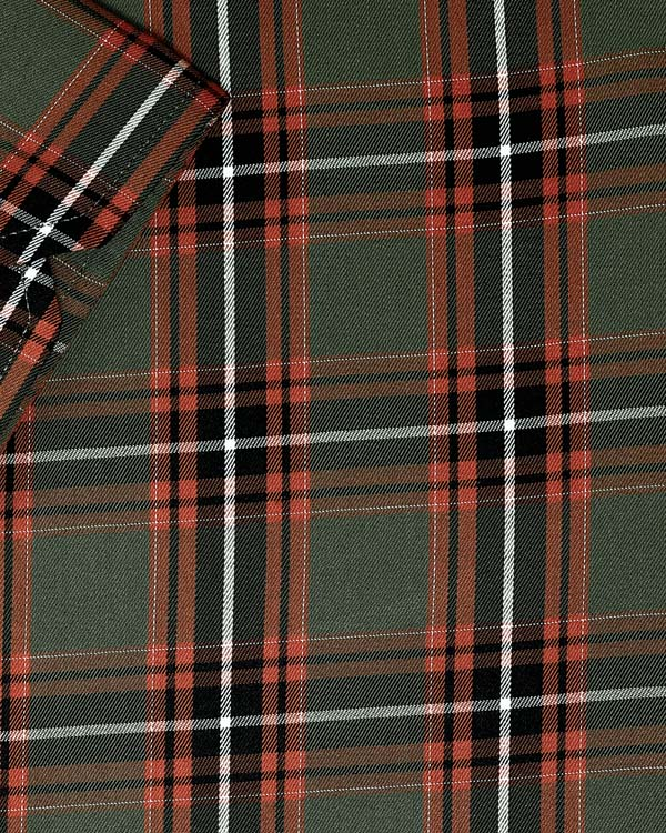 Olive with black and white Plaid Premium Cotton SHIRT