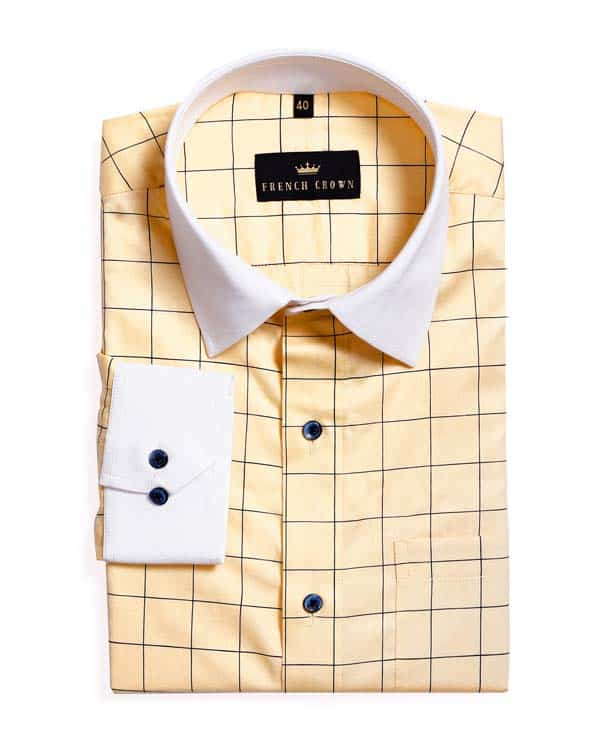 Latte ☕Windowpane Checked Premium Cotton Shirt