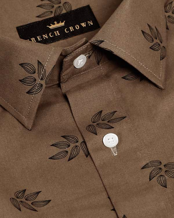Wood Brown Flower bud Printed Ultra Soft Cotton Shirt