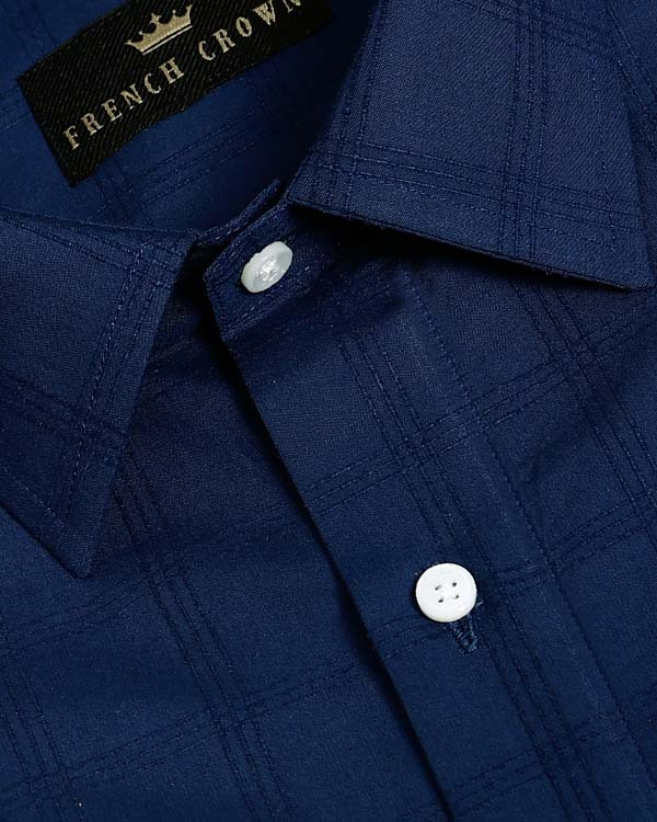 Royal Blue Jacquard Checked Giza Cotton shirt