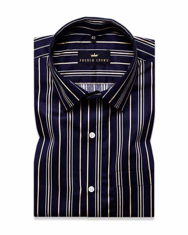 Blackish navy with Golden Striped Ultra soft Giza Cotton SHIRT