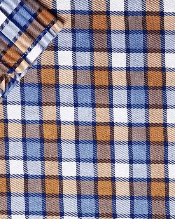 Sky with Orange Plaid Premium Cotton SHIRT