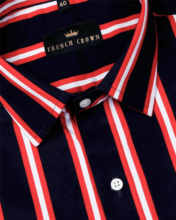 Blackish navy with Red Wide Striped Ultra soft Giza Cotton SHIRT