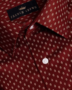 Maroon Lajwanti 🍃 Leaves Printed Ultra Soft Cotton SHIRT