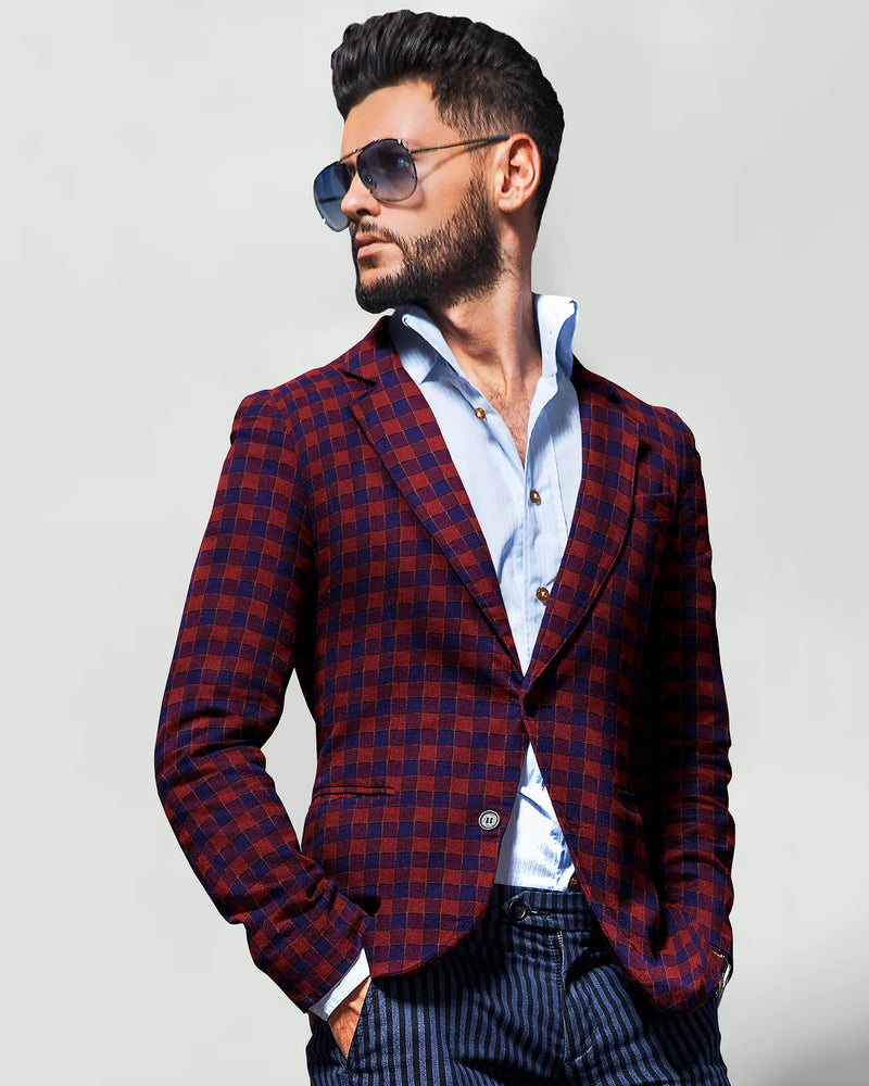 Maroon with Purple Plaid Designer Blazer