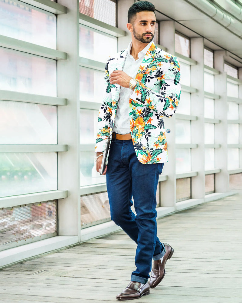 Colorful Tropical Print Designer Blazer