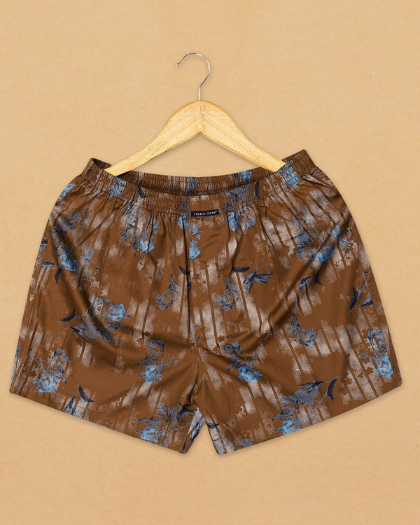 Brown Printed and White Dobby Premium Cotton Boxers