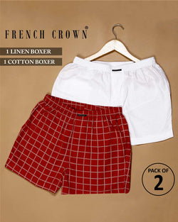 White Premium Linen and Red checked Boxers